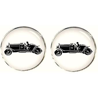 Bassin and Brown Vintage Motor Cycle Cufflinks - White/Black