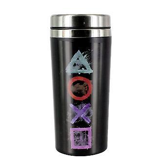 Sony PlayStation Travel muki logo musta/hopea, painettu, valmistettu ruostumattomasta teräksestä, tilavuus n. 450 ml..