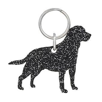 Black Labrador Retriever Style 4 Glitter Acrylic Keyring
