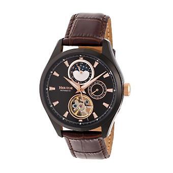 Heritor Automatic Sebastian Semi-Skeleton Leather-Band Watch  - Black/Brown