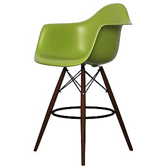 Charles Eames Style Green Plastic Bar Stool With Arms - Walnut Legs