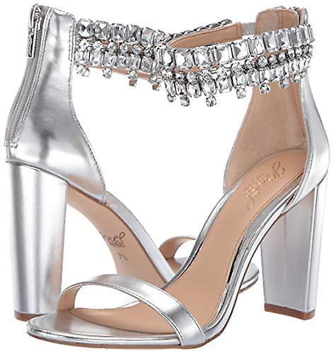 Jewel Badgley Mischka Women's DANCER Sandal, silver/metallic, 9.5 M US