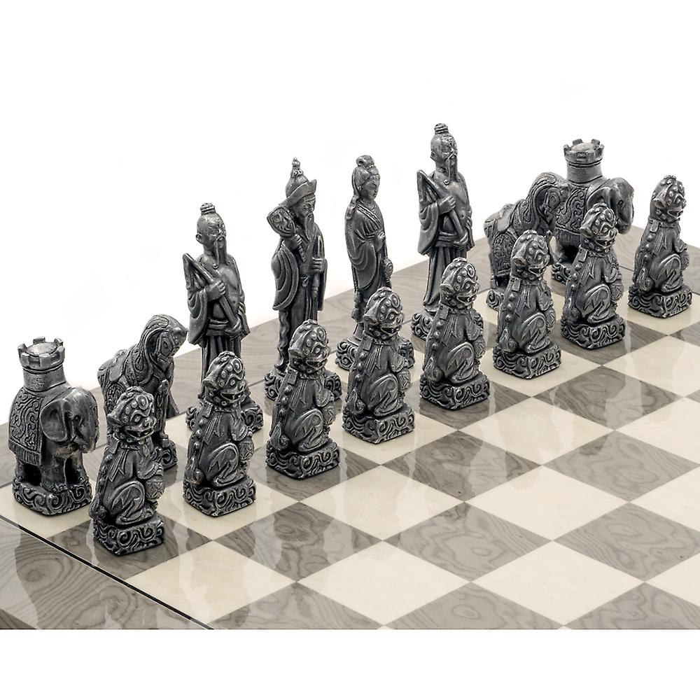 The Berkeley Chess Mandarin Grey Metal Chess Set