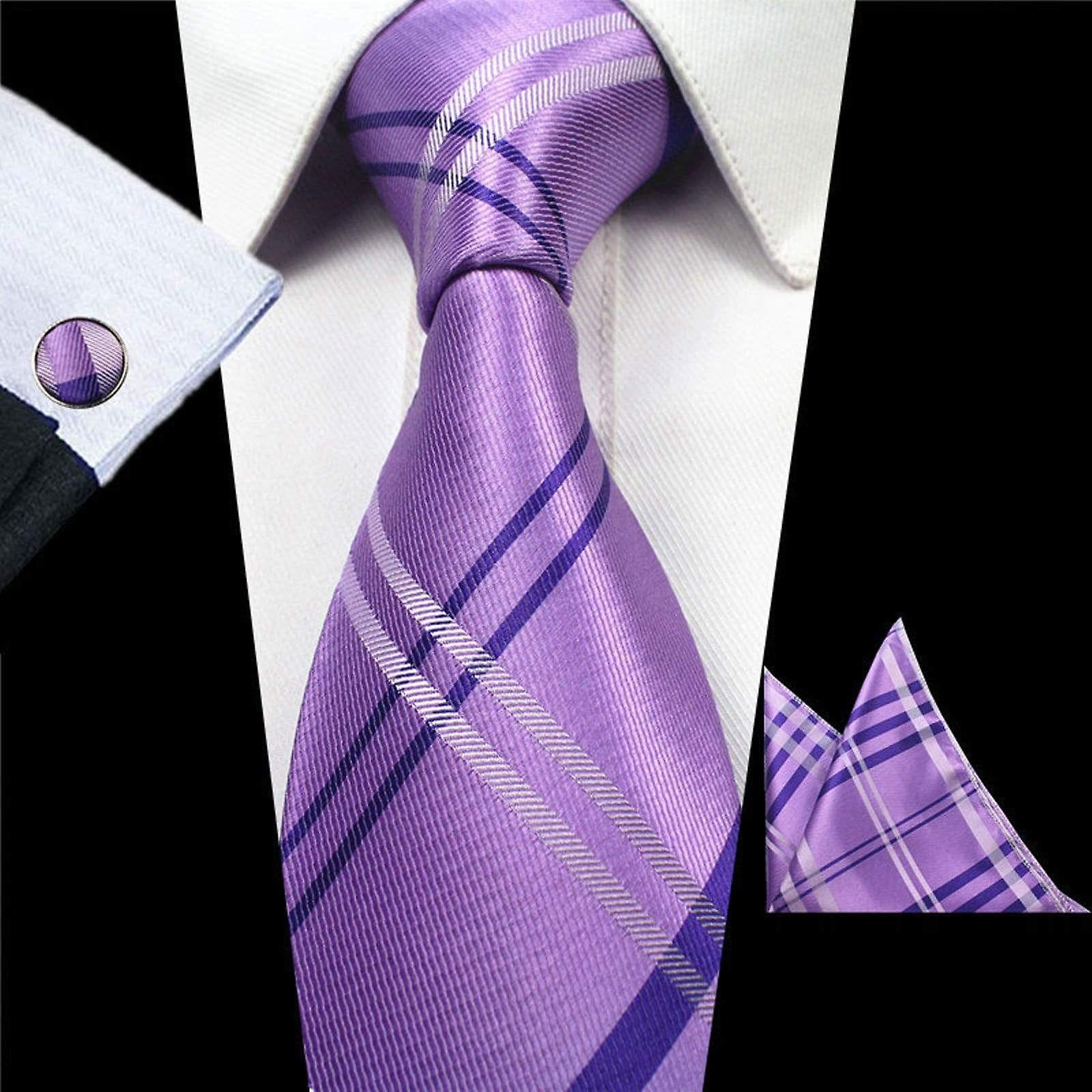 Purple & white cross necktie cuff link & pocket square