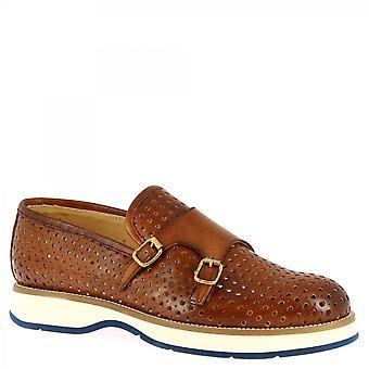 الرجال & أبوس؛ s أحذية المتسكعون المصنوعة يدويا مع أبازيم في جلد العجل السمرة openwork