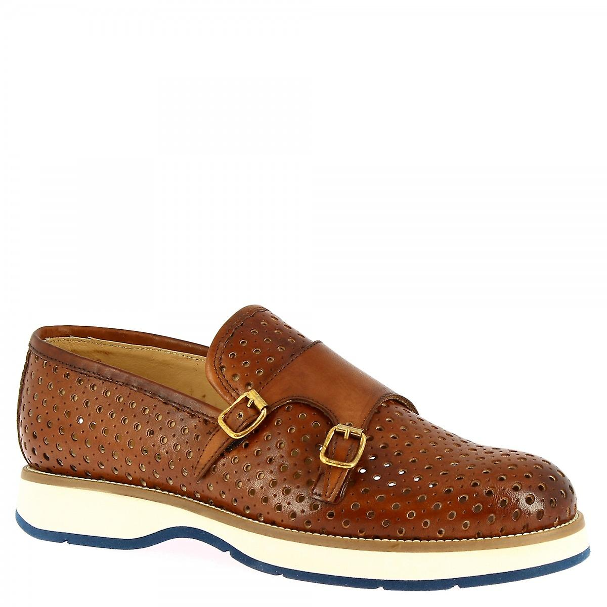 Men's handmade loafers shoes with buckles in tan openwork calf leather 80JDd