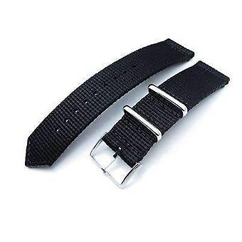 Strapcode fabric watch strap 20mm, 22mm two piece ww2 g10 black 3d nylon, polished buckle