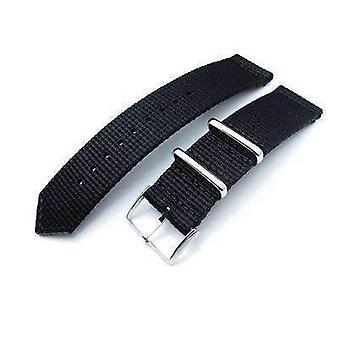 Strapcode حزام ووتش النسيج 20mm، 22mm قطعتين ww2 g10 أسود 3D النايلون، مشبك مصقول
