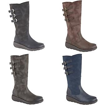 Cipriata Womens/Ladies Italiana PU Leather Triple Buckle High Leg Boot