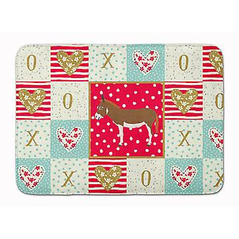 Miniature Mediterranian Donkey Love Machine Washable Memory Foam Mat
