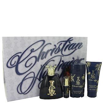 Christian Audigier Gift Set By Christian Audigier 3.4 oz Eau De Toilette Spray + .25 oz MIN EDT + 3 oz Body Wash + 2.75 Deodorant Stick