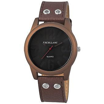 Excellanc 295057000139-men's wristwatch, leather, color: Brown