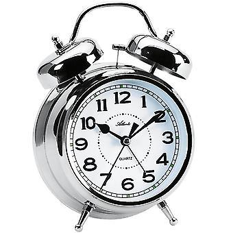 Atlanta 1647/19 Alarm clock quartz analog bell alarm clock double bell alarm clock silver