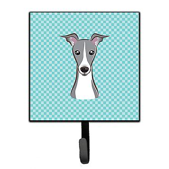 Checkerboard Blue Italian Greyhound Leash or Key Holder