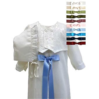 Christening Gown For Boys,  With Brocade Vest And Bonnet, 10 Choices Of  Bow, Grace Of Sweden