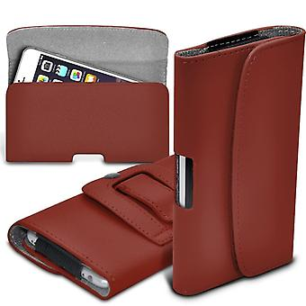 (Bruin) Huawei Mate 9 Case Hoge kwaliteit Faux Leather Horizontal Executive Pouch Holster Belt Clip Cover Case