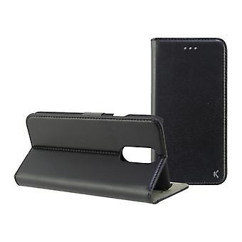 Caso do telefone celular Folio LG Q7 KSIX Preto