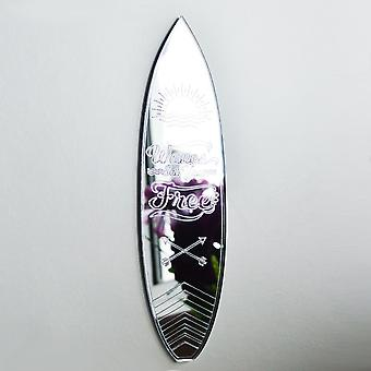 Surf Board Quote Waves Set you Free Acrylic Mirror