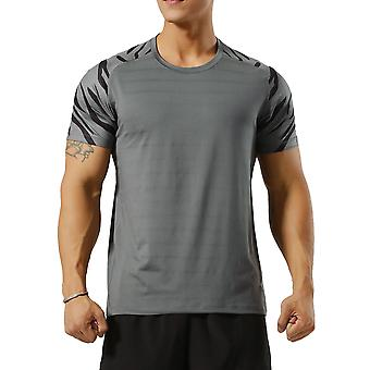 Allthemen Men's Round Neck Printed Stretch Sports Short T-Shirt