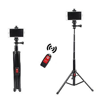 Portable all-in-one bluetooth selfie stick photo live light stand tripod with 1/4 screw