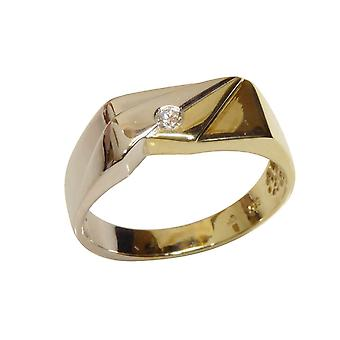 Bicolor gold cachet ring with embossed