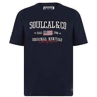 SoulCal Mens USA T-Shirt Crew Neck T Shirt Tee Top Short Sleeve Ribbed Trims