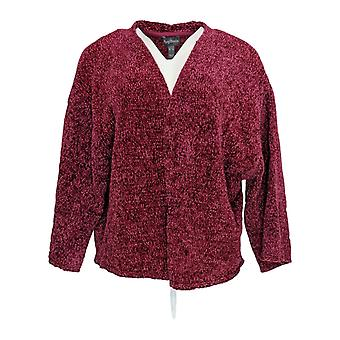 Anybody Women's Sweater Chenille Cropped Cardigan Purple A345313
