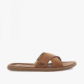 UGG Brookside Slide Mens Suede Mule Sandals Chestnut