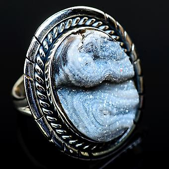 Large Desert Druzy Ring Size 7.25 (925 Sterling Silver)  - Handmade Boho Vintage Jewelry RING11611