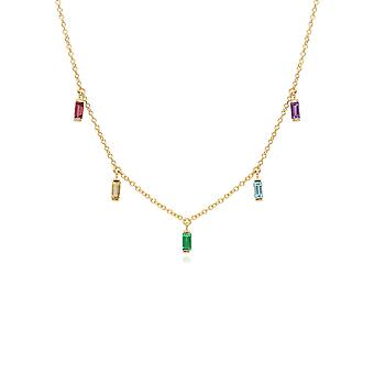 Rainbow Choker Necklace in Gold Plated Sterling Silver 270N036601925