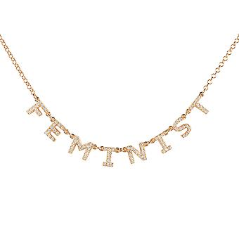Feminist Choker Necklace Rose Gold Word Letters Gift Gemstone Woman 925 Sparkle