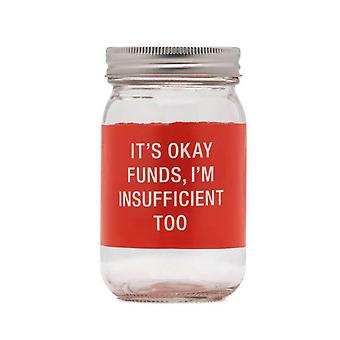 Say What Insufficient Glass Jar Money Bank (Red)