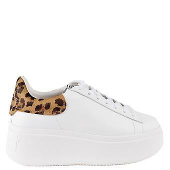 Ash Footwear Moby White And Cheetah Print Pony Hair Platform Trainers