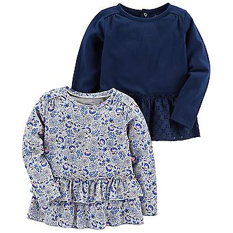 Simple Joys by Carter's Baby Girls' Toddler 2-Pack Long Sleeve Tops, Gray Flo...
