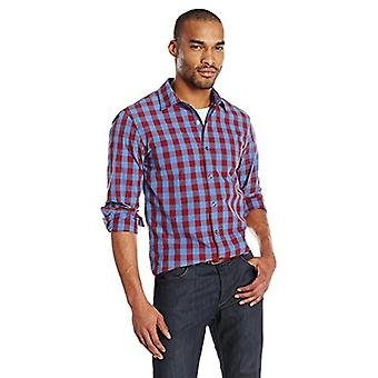 Goodthreads Men's Slim-Fit Langarm Gingham Plaid Poplin Shirt, blau/Burgu...