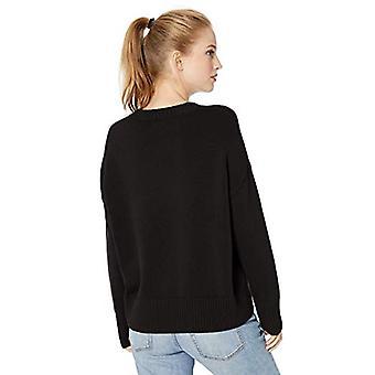 Brand - Daily Ritual Women's 100% Cotton Boxy Crewneck Pullover Sweater, Black, Large