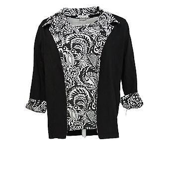 Serengeti Women's Sweater Open Front Cardigan w/ Tee Black