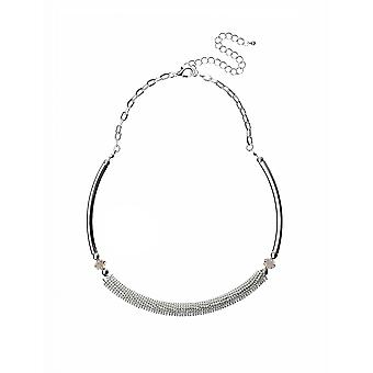 Silver Choker Collar Necklace With Crystal Diamante Detail