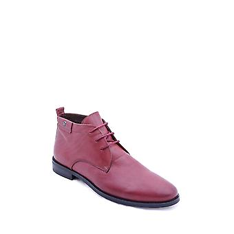 Leather laced claret red ankle boots | wessi