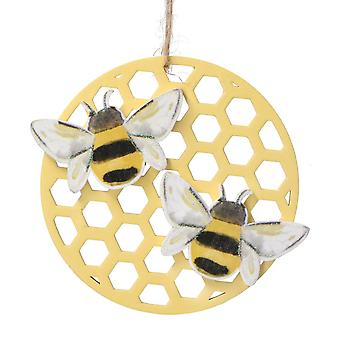 Gisela Graham Wooden Honeycomb and Bee Hanging Decoration