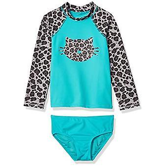 Spotted Zebra Big Girls' Swim Rashguard with Bottom, Grey Cheetah, X-Large (12)