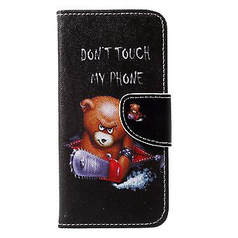 Shell for Apple iPhone X Black Bear Case Leather Lining Card Holder
