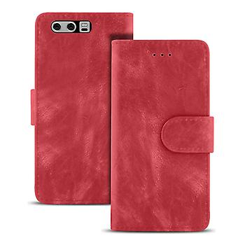 Vintage Sleeves with Card Compartment for Huawei P10 Plus Wallet Magnetic Lock LeatherEtte Red