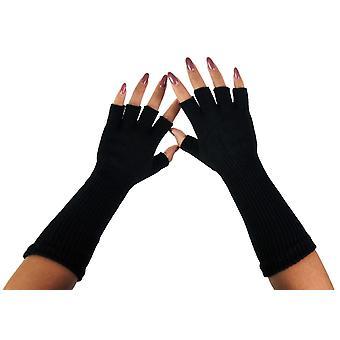 Women's Skull With Thick Stripe Finger Less Costume Gloves