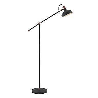 Luminosa Lighting - Justerbar gulvlampe, 1 x E27, Sand Svart, Kobber, Hvit