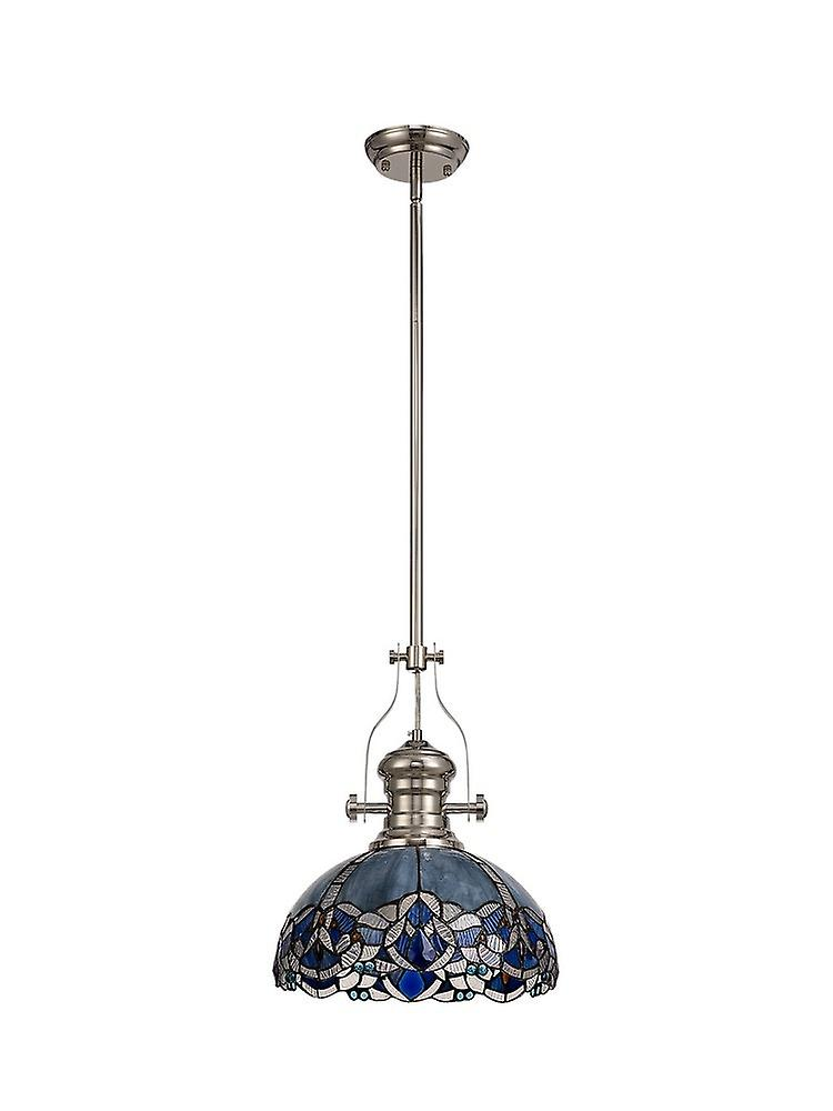 1 Light Telescopic Ceiling Pendant E27 With 30cm Tiffany Shade, Polished Nickel, Blue, Clear Crystal