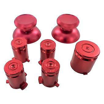 Metal button set for xbox 360 controller thumbsticks d-pad a b x y guide replacement - red | zedlabz