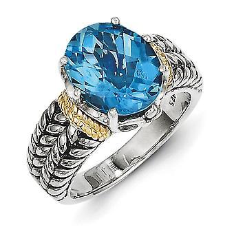 925 Sterling Zilver Gepolijst Prong set met 14k 4.80Swiss Blauwe Topaas Ring Sieraden Cadeaus voor Vrouwen - Ring Maat: 6 tot 8
