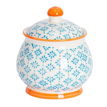 Nicola Spring Hand-Printed Sugar Bowl with Lid - Japanese Style Porcelain Kitchen Storage Pot - Blue - 10.5 x 12.5cm