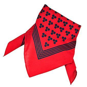 Ties Planet Red With Navy Blue 3-dot & Stripes Bandana Neckerchief